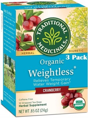 Traditional Medicinals Organic Weightless Cranberry Water Retention Tea, 16 Tea Bags/Box, Pack of 3