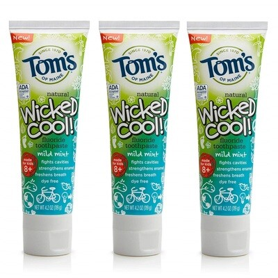 Toms of Maine Wicked Cool! Kids Toothpaste Anticavity, Mild Mint, 4.2 Ounce, Pack of 3