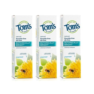 Toms of Maine Fluoride Free Botanically Bright Whitening Toothpaste, Peppermint, 4.7 Ounce, Pack of 3