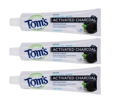 Toms of Maine Activated Charcoal Flouride Free Toothpaste, Peppermint, 4.7 Ounce, Pack of 3