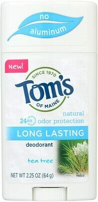 Toms of Maine Long Lasting Deodorant, Tea Tree 2.25 Ounce