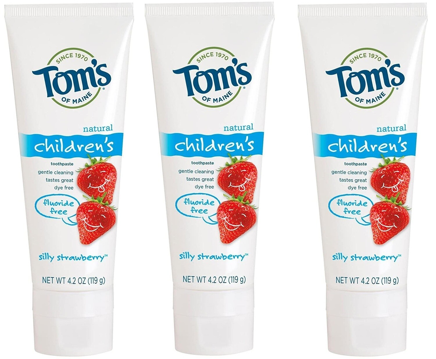 Toms of Maine Fluoride Free Childrens Toothpaste, Silly Strawberry, 4.2 Ounce, Pack of 3