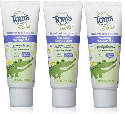 Toms Of Maine Toddler Training Fluoride Free Toothpaste, Mild Fruit, 1.75 Ounce, Pack of 3