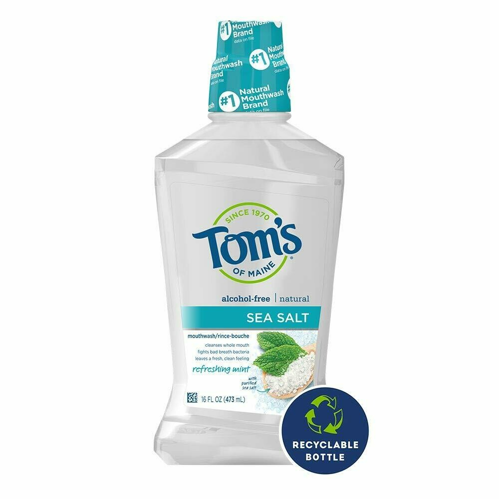 Toms of Maine Sea Salt Natural Alcohol Free Mouthwash, 16 Ounce
