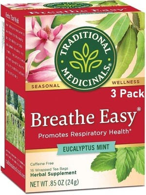 Traditional Medicinals Breathe Easy Tea, 16 Tea Bags/Box, Pack of 3