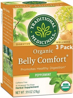 Traditional Medicinals Organic Belly Comfort Digestive Tea, Peppermint, 16 Tea Bags/Box, Pack of 3
