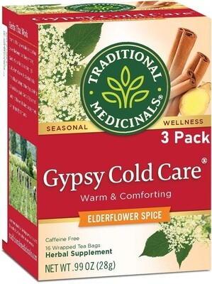 Traditional Medicinals Gypsy Cold Care Seasonal Tea, 16 Tea Bags/Box, Pack of 3