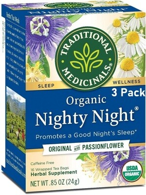 Traditional Medicinals Organic Nighty Night Tea, Caffeine Free, 16 Tea Bags/Box, Pack of 3