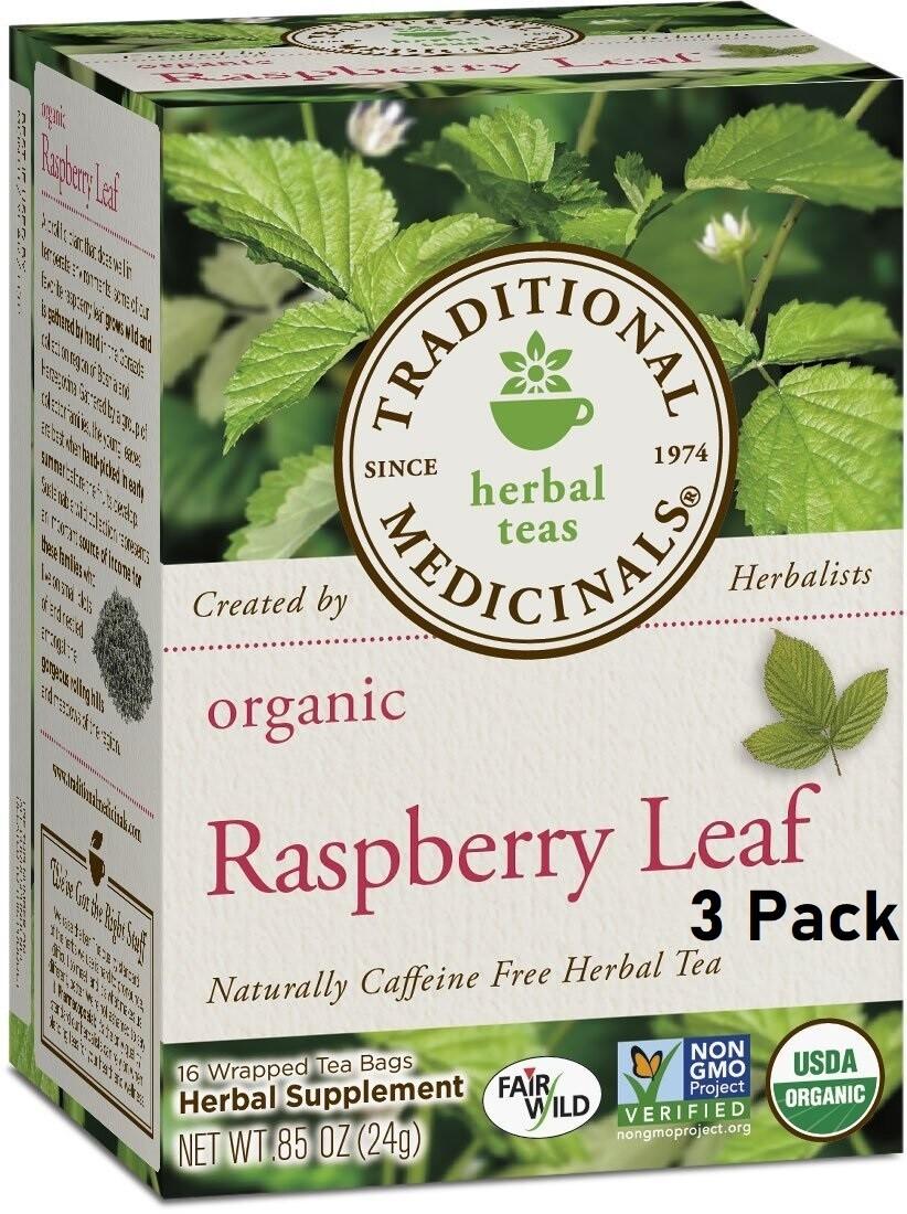 Traditional Medicinals Organic Raspberry Leaf Herbal Tea, 16 Tea Bags/Box, Pack of 3