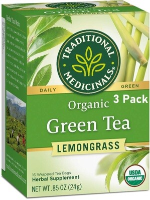 Traditional Medicinals Organic Green Tea Lemongrass Tea, 16 Tea Bags/Box, Pack of 3