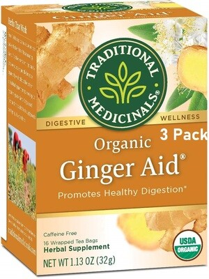 Traditional Medicinals Organic Ginger Aid Digestive Tea, 16 Tea Bags/Box, Pack of 3