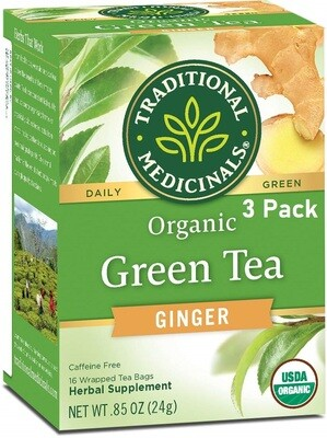 Traditional Medicinals Organic Green Tea Ginger Tea, 16 Tea Bags/Box, Pack of 3