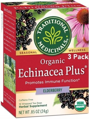 Traditional Medicinals Organic Echinacea Plus Elderberry Seasonal Tea, 16 Tea Bags/Box, Pack of 3