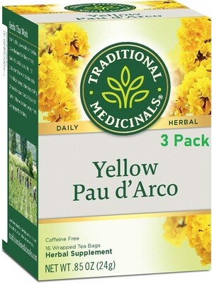 Traditional Medicinals Yellow Pau d'Arco Herbal Tea, 16 Tea Bags/Box, Pack of 3