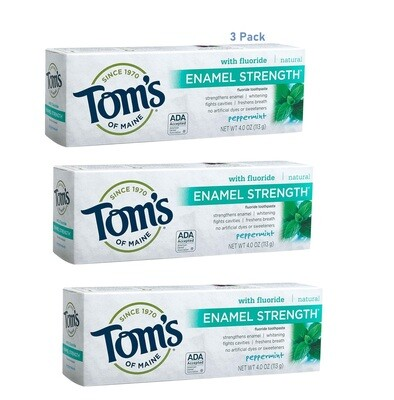 Toms of Maine Enamel Strength Natural Toothpaste, Peppermint, 4 Ounce, Pack of 3
