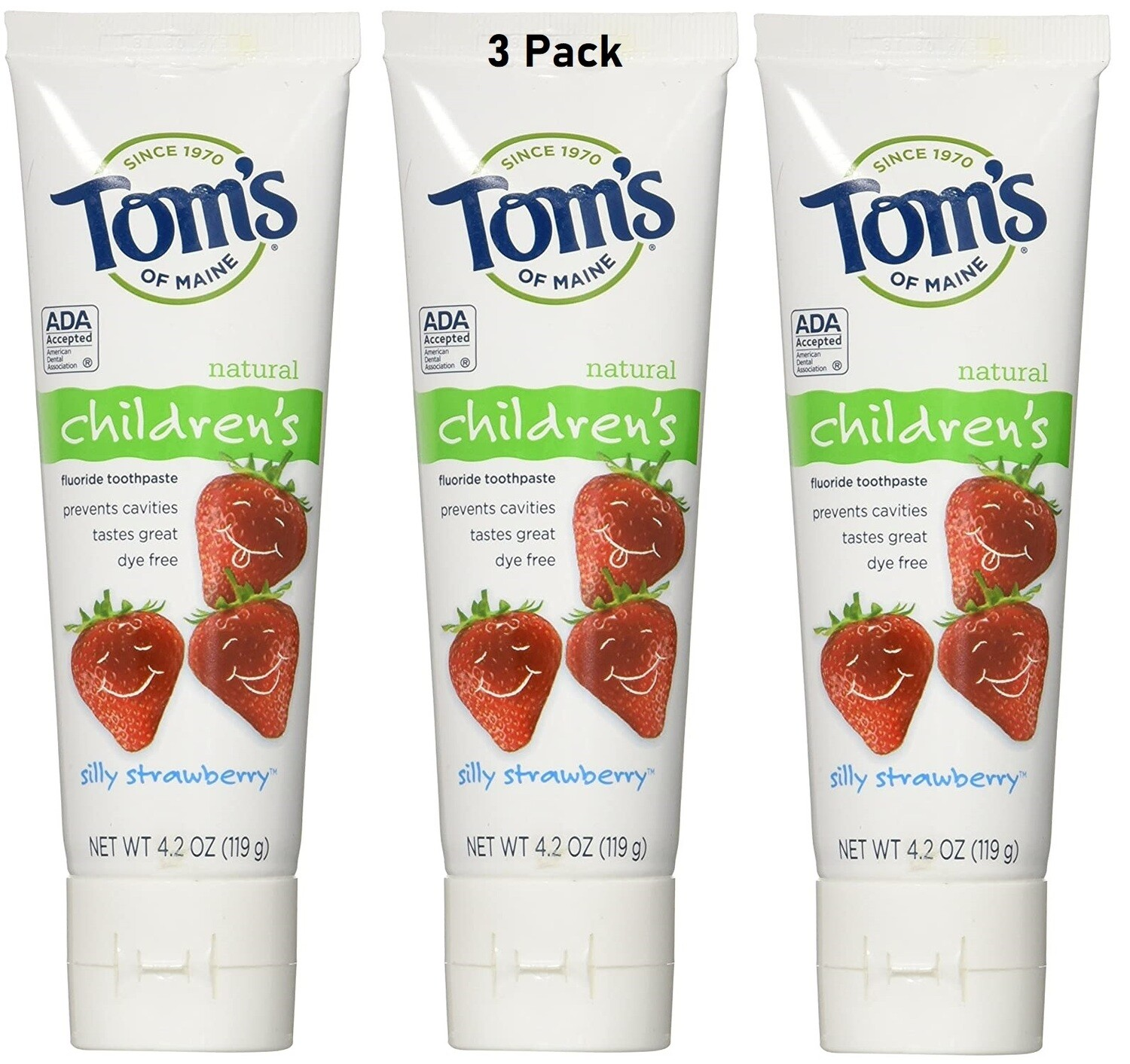 Toms of Maine Anticavity Fluoride Childrens Toothpaste, Silly Strawberry, 4.2 Ounce, Pack of 3