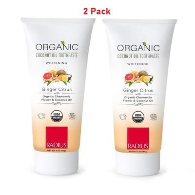 Radius Organic Gel Whitening Toothpaste, Ginger Citrus, Non Toxic, 3 Ounce, 2 Pack