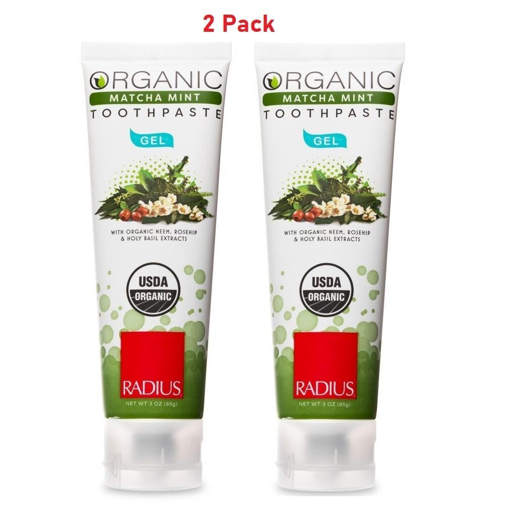 Radius Organic Gel Toothpaste, Matcha Mint, 3 Ounce, 2 Pack