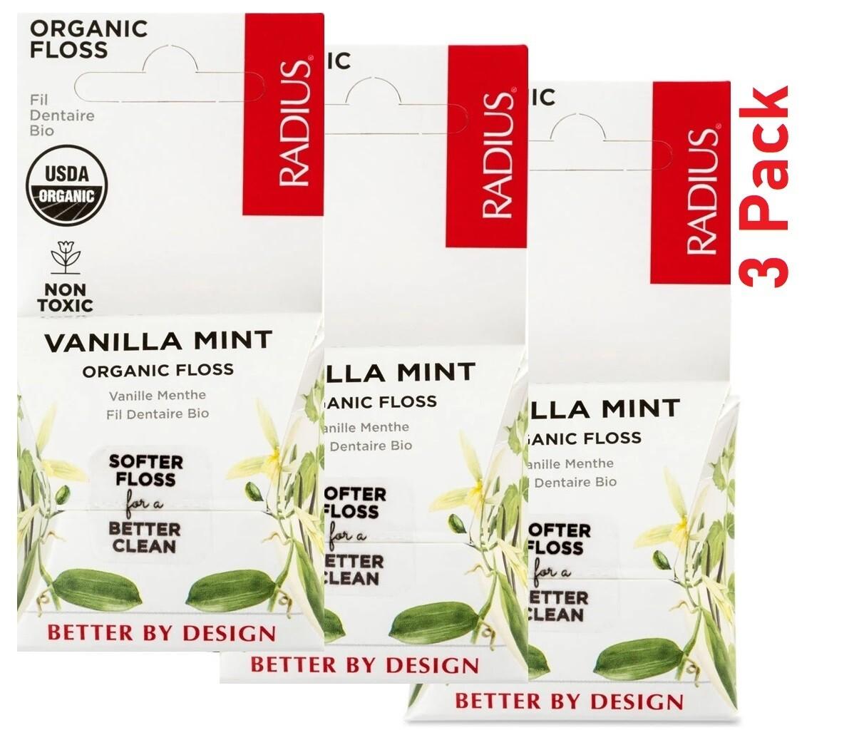 Radius Organic Dental Floss, Vanilla Mint, 1 Count, Pack of 3
