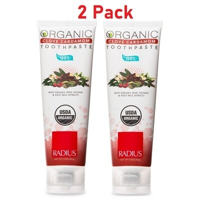 Radius Organic Gel Toothpaste, Clove Cardamom, 3 Ounce, 2 Pack