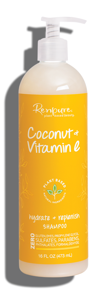 Renpure Coconut and Vitamin E Hydrate + Replenish Hair Shampoo, 16 fl Ounce