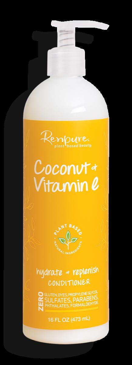 Renpure Coconut and Vitamin E Hydrate + Replenish Hair Conditioner, 16 fl Ounce