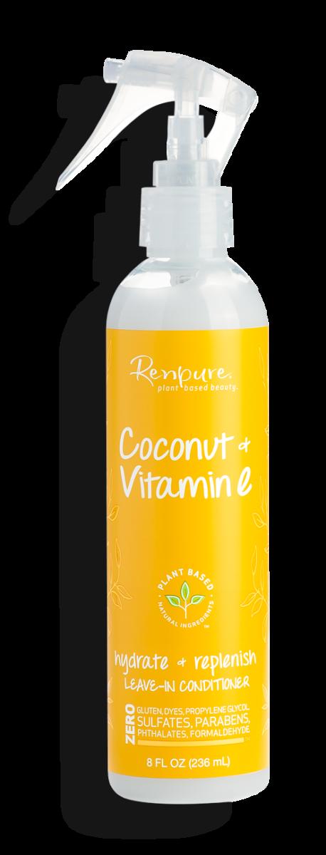 Renpure Coconut and Vitamin E Hydrate + Replenish Leave In Hair Conditioner, 8 fl Ounce