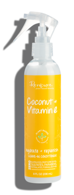 Renpure Coconut and Vitamin E Hydrate + Replenish Leave In Hair Conditioner, 8 fl Ounce