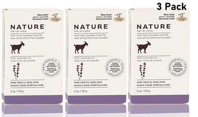 Nature by Canus, Fresh Goat's Milk Soap Bar, Lavender Oil, 5 Ounce, Pack of 3