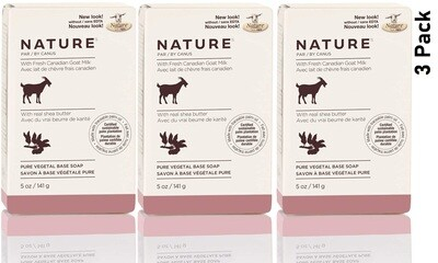 Nature by Canus, Fresh Goats Milk Soap Bar, Shea Butter, 5 Ounce, Pack of 3