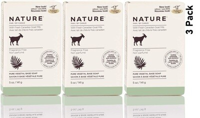 Nature by Canus, Fresh Goats Milk Soap Bar, Fragrance Free, 5 Ounce, Pack of 3