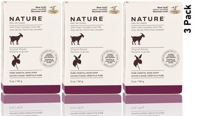 Nature by Canus, Fresh Goats Milk Soap Bar, Original, 5 Ounce, Pack of 3