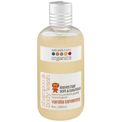 Natures Baby Organics Baby Shampoo and Body Wash, Vanilla Tangerine, 8 Ounce
