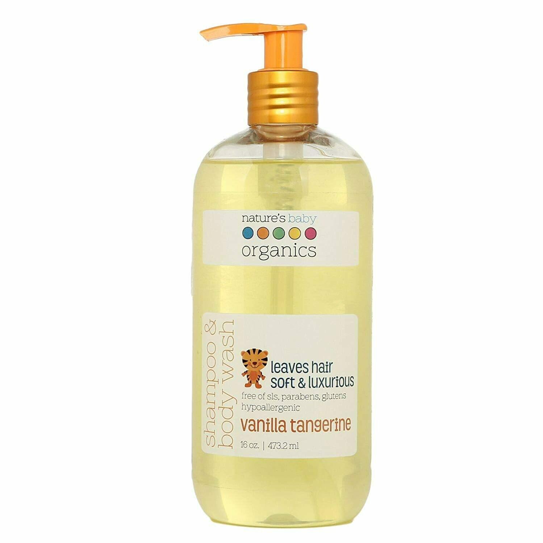 Natures Baby Organics Baby Shampoo and Body Wash, Vanilla Tangerine, 16 Ounce