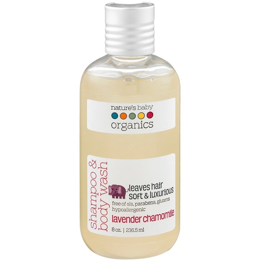 Natures Baby Organics Shampoo and Body Wash, Lavender Chamomile, 8 Ounce