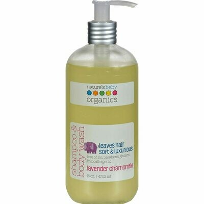 Natures Baby Organics Shampoo and Body Wash, Lavender Chamomile, 16 Ounce