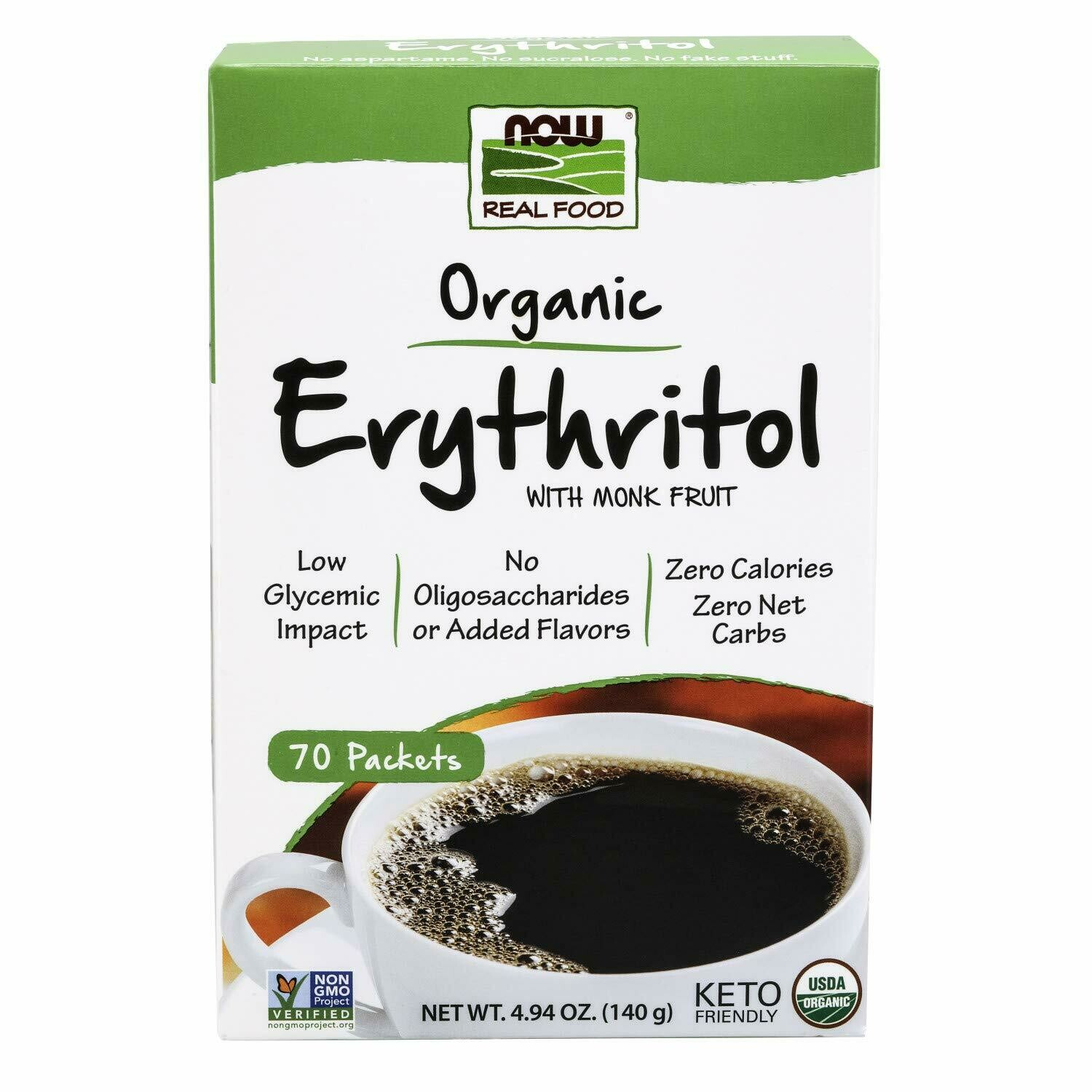 Now Real Food Organic Erythritol with Monk Fruit, 70 Packets