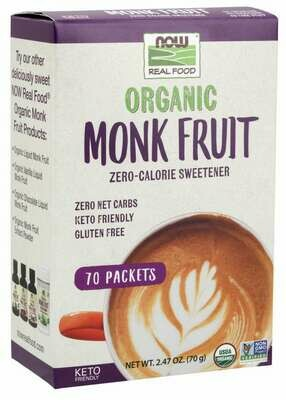 Now Real Food Organic Monk Fruit Sweetener, 70 Packets