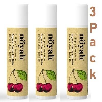 Noyah Organic Cherry Lip Balm, 0.15 Ounce, Pack of 3