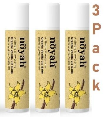 Noyah Organic Vanilla Lip Balm, 0.15 Ounce, Pack of 3