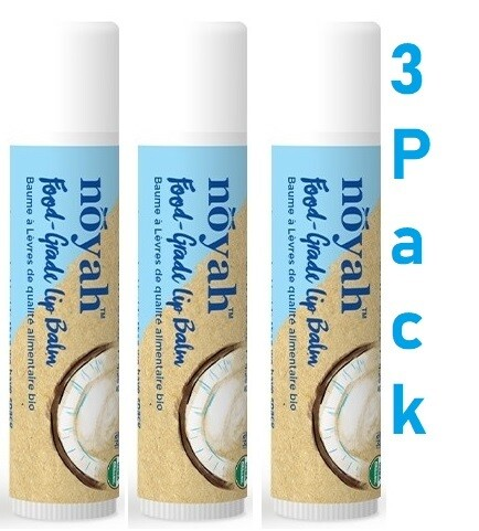 Noyah Food Grade Vanilla Lip Balm, 0.15 Ounce, Pack of 3