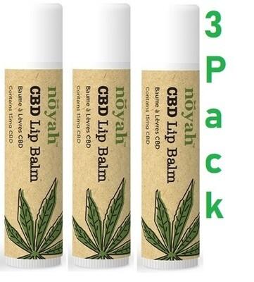 Noyah Food Grade CBD Vanilla Lip Balm, 0.15 Ounce, Pack of 3