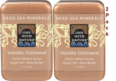 One With Nature Dead Sea Minerals Vanilla Oatmeal Soap, 7 Ounce, Pack of 2