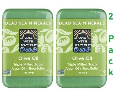 One With Nature Dead Sea Minerals Olive Oil Bar Soap, 7 Ounce, Pack of 2