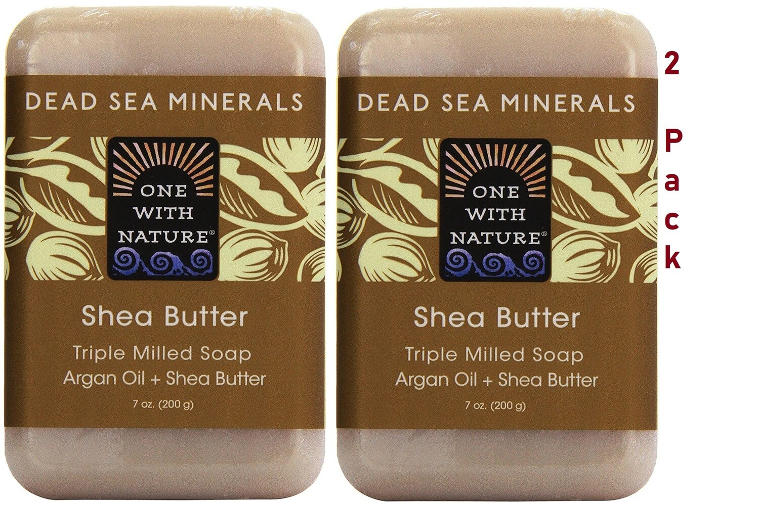 One With Nature Dead Sea Minerals Shea Butter Bar Soap, 7 Ounce, Pack of 2