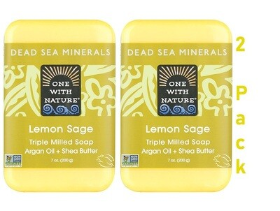 One With Nature Dead Sea Minerals Lemon Sage Bar Soap, 7 Ounce, Pack of 2