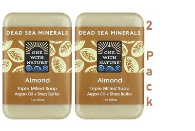 One With Nature Dead Sea Minerals Almond Bar Soap, 7 Ounce, Pack of 2
