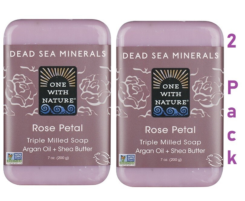 One With Nature Dead Sea Minerals Rose Petal Bar Soap, 7 Ounce, Pack of 2