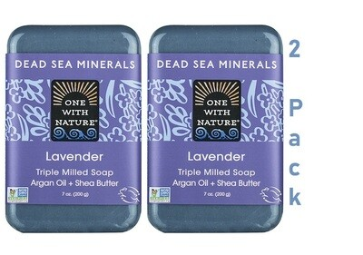 One With Nature Dead Sea Minerals Lavender Bar Soap, 7 Ounce, Pack of 2