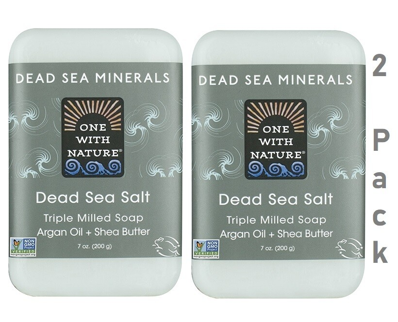 One With Nature Dead Sea Minerals Dead Sea Salt Bar Soap, 7 Ounce, Pack of 2